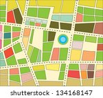 vector city map with colored... | Shutterstock .eps vector #134168147