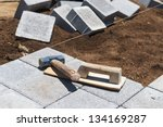 paving grey blocks with... | Shutterstock . vector #134169287