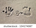 Three Palm Imprints Of Family...