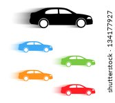 set of vector color moving cars ... | Shutterstock .eps vector #134177927