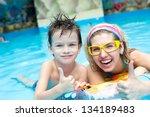having fun in aqua park   Shutterstock . vector #134189483