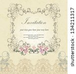 vector ornate frame with floral ... | Shutterstock .eps vector #134211317