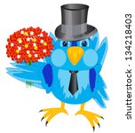 appointment,bird,bouquet,cartoon,event,flower,fop,gift,hat,illustration,love,natty,present,sparrow,tie