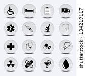 Set Of Icons On A Medical...
