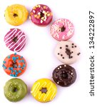 colorful donuts isolated on... | Shutterstock . vector #134222897