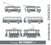 Vintage city transport vehicles set. Isolated on white - stock vector