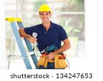 handsome cctv guy with tools... | Shutterstock . vector #134247653