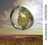 Surreal landscape of flowery meadow with world globe map. Original image of map courtesy NASA. - stock photo