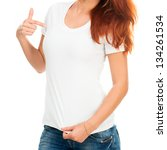 white t-shirt on a girl with perfect body - stock photo