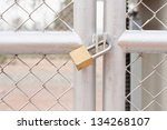 chain link fence and metal door ... | Shutterstock . vector #134268107