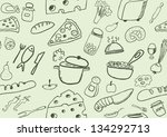seamless food icons | Shutterstock .eps vector #134292713