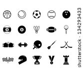 sport icon set black and white | Shutterstock .eps vector #134293433