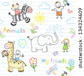 Seamless background with happy children's and animals. Sketch on notebook page - stock vector