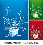 set of gift backgrounds - stock vector