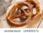 Freshly baked pretzels or brezels, close-up - stock photo