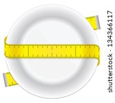 measuring tape and plate as a...