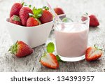 fresh strawberry milk in a glass - stock photo