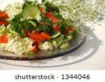 green salad on glass plate  ... | Shutterstock . vector #1344046