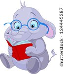 cute elephant with glasses... | Shutterstock .eps vector #134445287