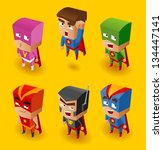 Superhero Set. Vector Illustration - stock vector