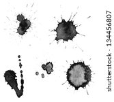 vector set  ink blots | Shutterstock .eps vector #134456807