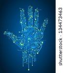 circuit abstract hand vector... | Shutterstock .eps vector #134473463