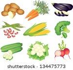 vegetables photo realistic... | Shutterstock .eps vector #134475773