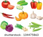 vegetables photo realistic... | Shutterstock .eps vector #134475863