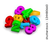 3D colorful funny stack of numbers on white background illustration - stock photo