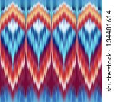 abstract ethnic coral blue red seamless kaleidoscope pattern, fabric print ornament - stock photo