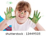 a cute young girl with paint on ... | Shutterstock . vector #13449535