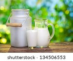 Milk In Various Dishes On The...