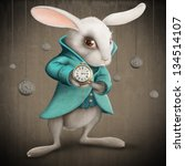 Stock photo white elegance rabbit indicates the clock illustration 134514107