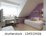 Modern girl room attic design - stock photo