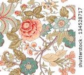 Stock vector vintage flower pattern 134528717
