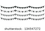 a set of four lines of bunting - stock vector