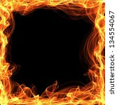 Fire background abstract with vivid hot flames framewith copyspace for your text - stock photo