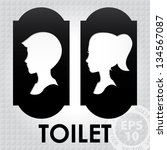 Classic Toilet Sign with Boy and Girl Head 01 : EPS10 Vector