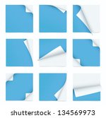 blue set of note paper with... | Shutterstock .eps vector #134569973