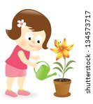 Girl Watering Lily Flower