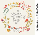 Save the date floral card. Vintage wedding invitation. Birds and flowers - summer bright background. - stock vector