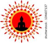 buddha  sun  meditation ...   Shutterstock .eps vector #134607137
