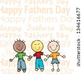 fathers day icons and cards  ... | Shutterstock .eps vector #134616677