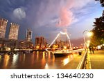 Night shot of the Puerto Madero in Buenos Aires, Argentina, South america. - stock photo