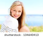 young attractive woman near the ... | Shutterstock . vector #134640413