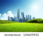 spring park and modern city | Shutterstock . vector #134655953
