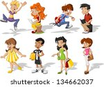 group of cartoon young people.... | Shutterstock .eps vector #134662037