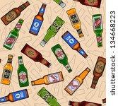 Beer Bottles Seamless Pattern