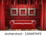 red fabric curtain with frames on stage