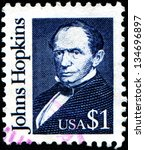 Small photo of USA - CIRCA 1989: A stamp printed in United States of America shows Johns Hopkins was a wealthy American entrepreneur, philanthropist and abolitionist of 19th-century Baltimore, Maryland, circa 1989